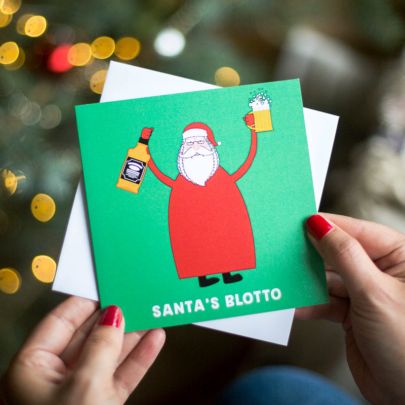 'Santa's Blotto' Funny Christmas Card