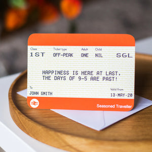 Personalised Train Ticket Retirement Card