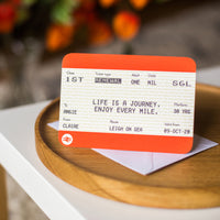 Personalised Train Ticket Birthday Card