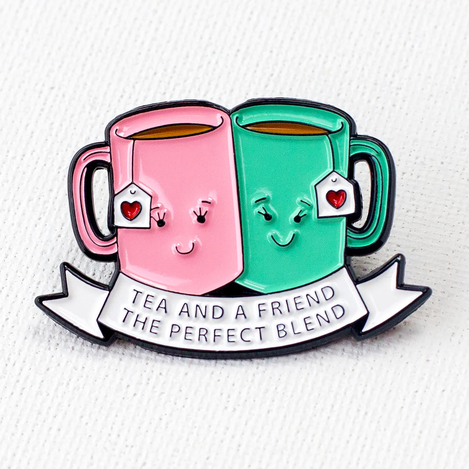 'Tea and a Friend' Enamel Pin Badge