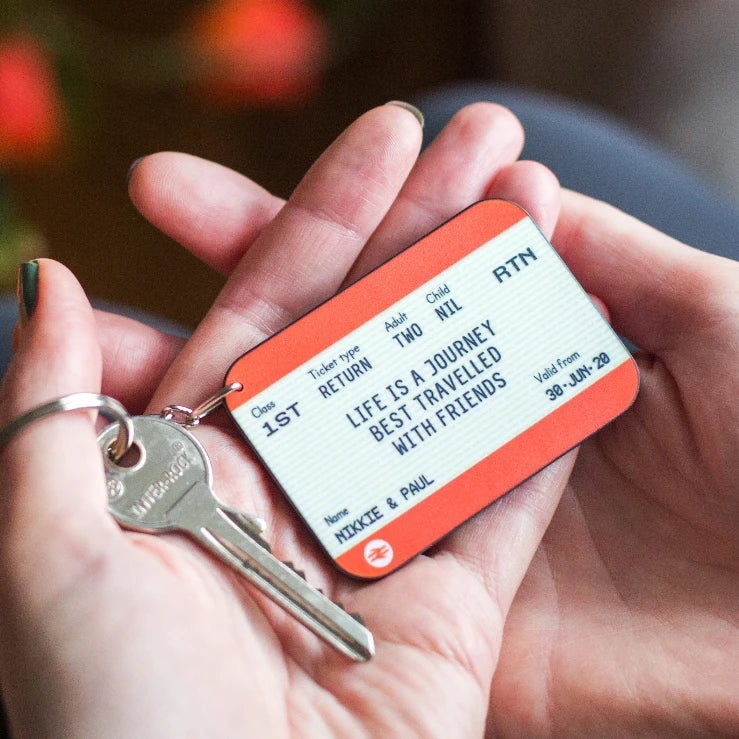 Personalised Train Ticket Friendship Keyring