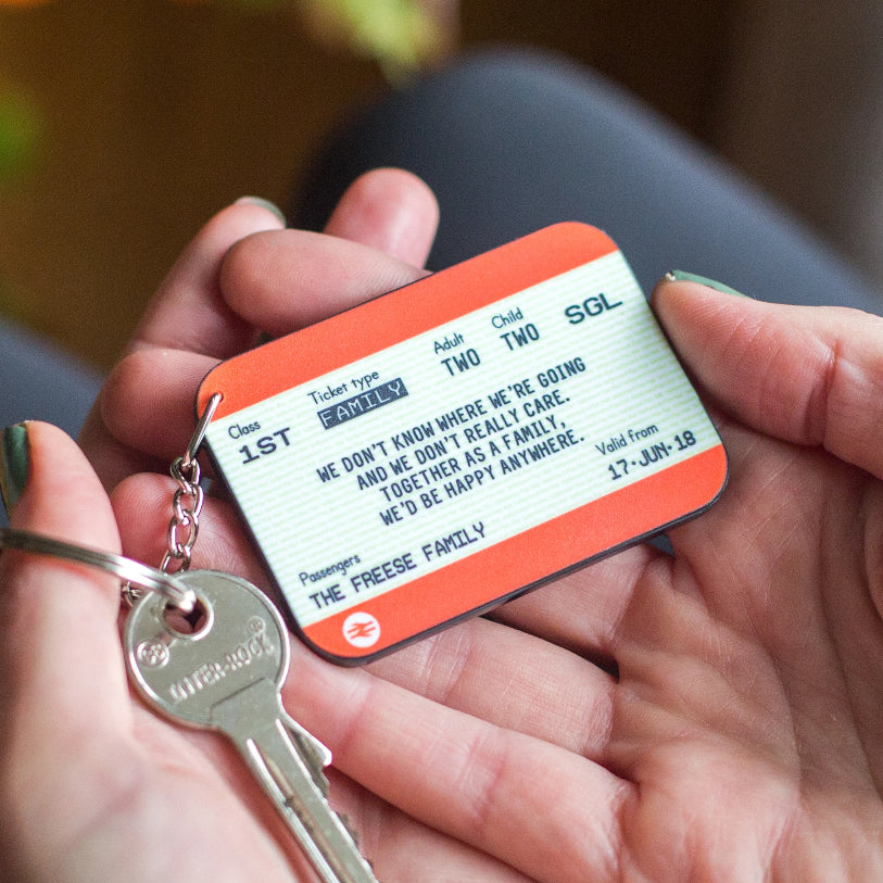 Personalised Family Train Ticket Keyring