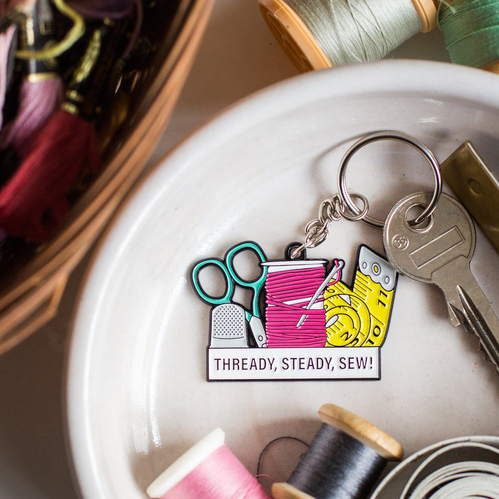 'Thready, Steady, Sew!' Keyring