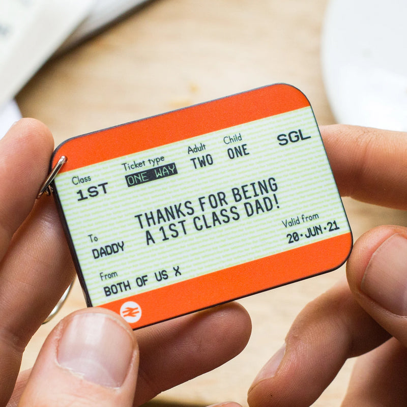 Personalised Train Ticket Father's Day Keyring