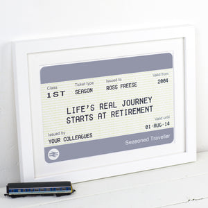 Personalised Train Ticket Retirement Print-A4 Print-Of Life & Lemons®