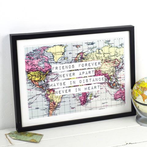 Personalised World Map Friendship Print-A4 Print-Of Life & Lemons®