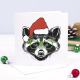 Funny Animal Christmas Card - Raccoon