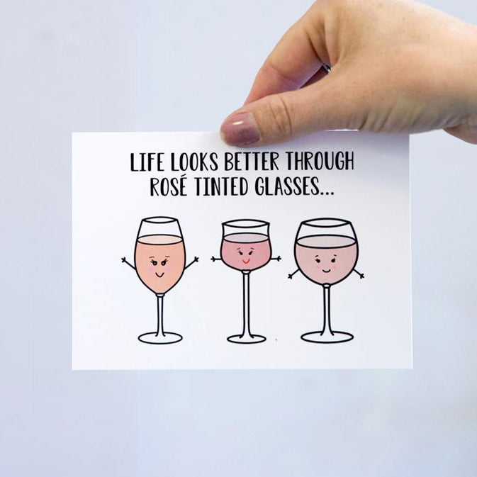 'Rosé Tinted Glasses' Postcard-A4 Print-Of Life & Lemons®