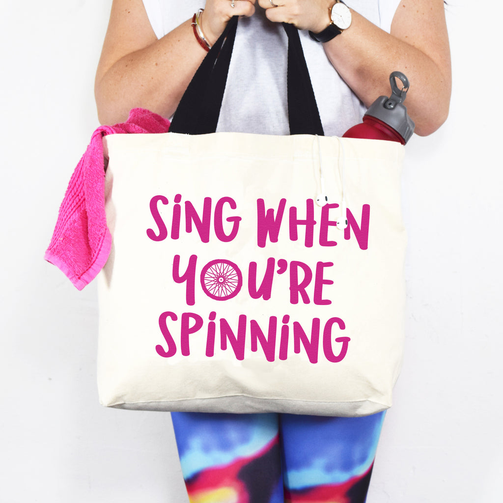 'Sing When You're Spinning' Funny Gym Bag-Tote Bag-Of Life & Lemons®
