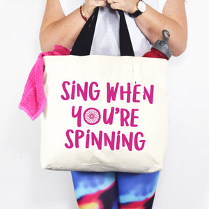 'Sing When You're Spinning' Funny Gym Bag