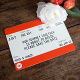 Train Ticket Save the Date Cards