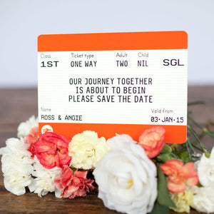 Train Ticket Save the Date Cards-A4 Print-Of Life & Lemons®