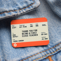 Personalised Train Ticket 'Thank You Teacher' Badge