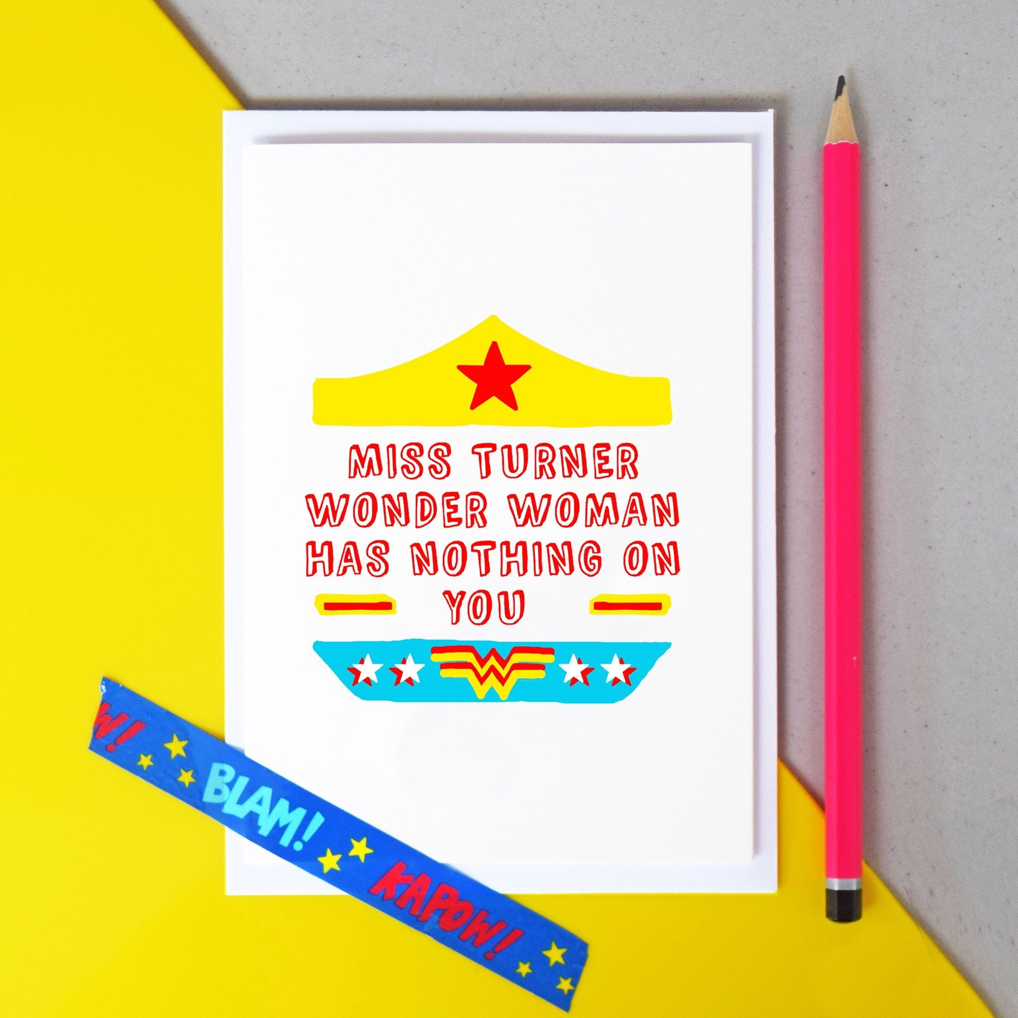 Personalised 'Wonder Woman' Thank You Teacher Card-A4 Print-Of Life & Lemons®