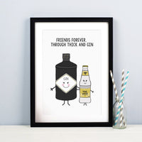 'Through Thick and Gin' Personalised Friendship Print-A4 Print-Of Life & Lemons®