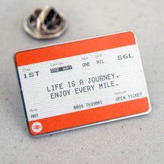 'Life is a Journey' Train Ticket Badge