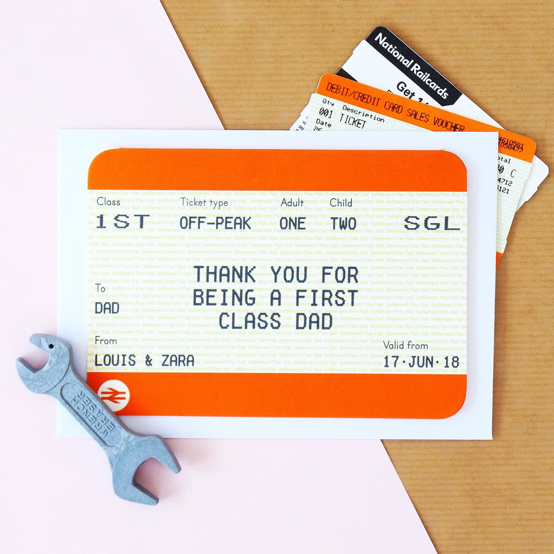 Personalised Train Ticket Father's Day Card
