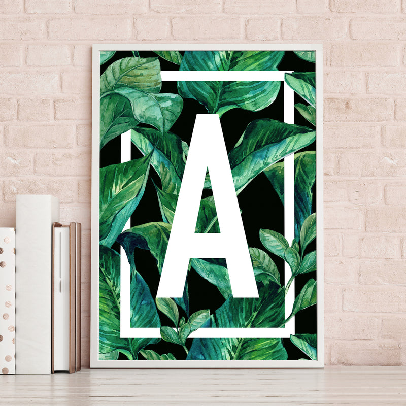 Tropical Leaf Monogram Print-A4 Print-Of Life & Lemons®