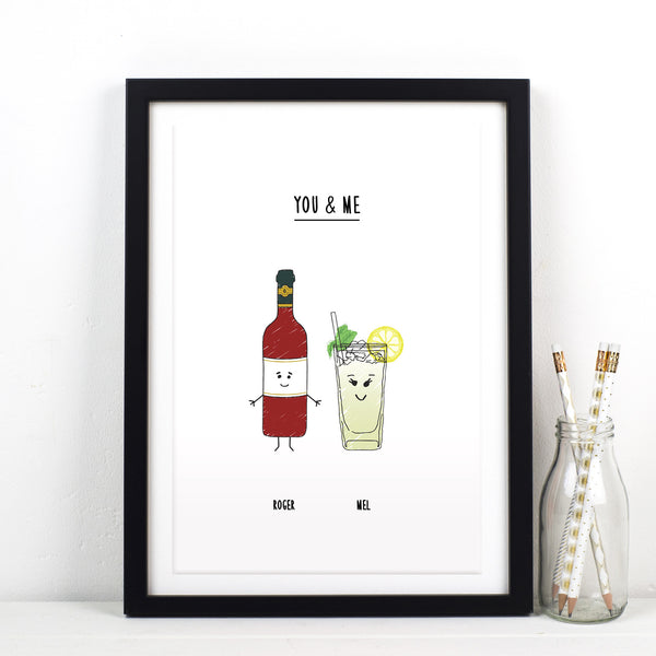 Personalised Drink Print for Couple