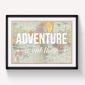 'Adventure Is Out There' World Map Print-A4 Print-Of Life & Lemons®