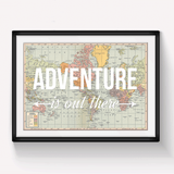 'Adventure Is Out There' World Map Print