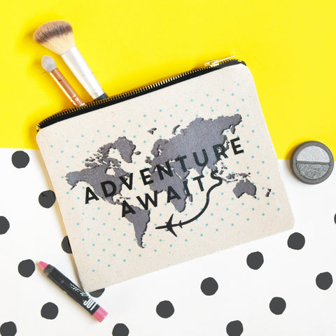 'Adventure Awaits' Canvas Pouch