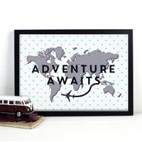 DISCONTINUED - 'Adventure Awaits' World Map Print-A4 Print-Of Life & Lemons®