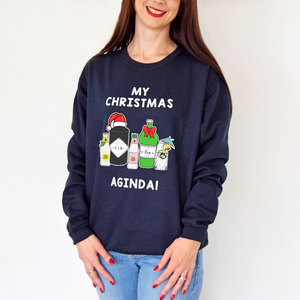 'Christmas Aginda' Funny Gin Christmas Jumper-Tote Bag-Of Life & Lemons®