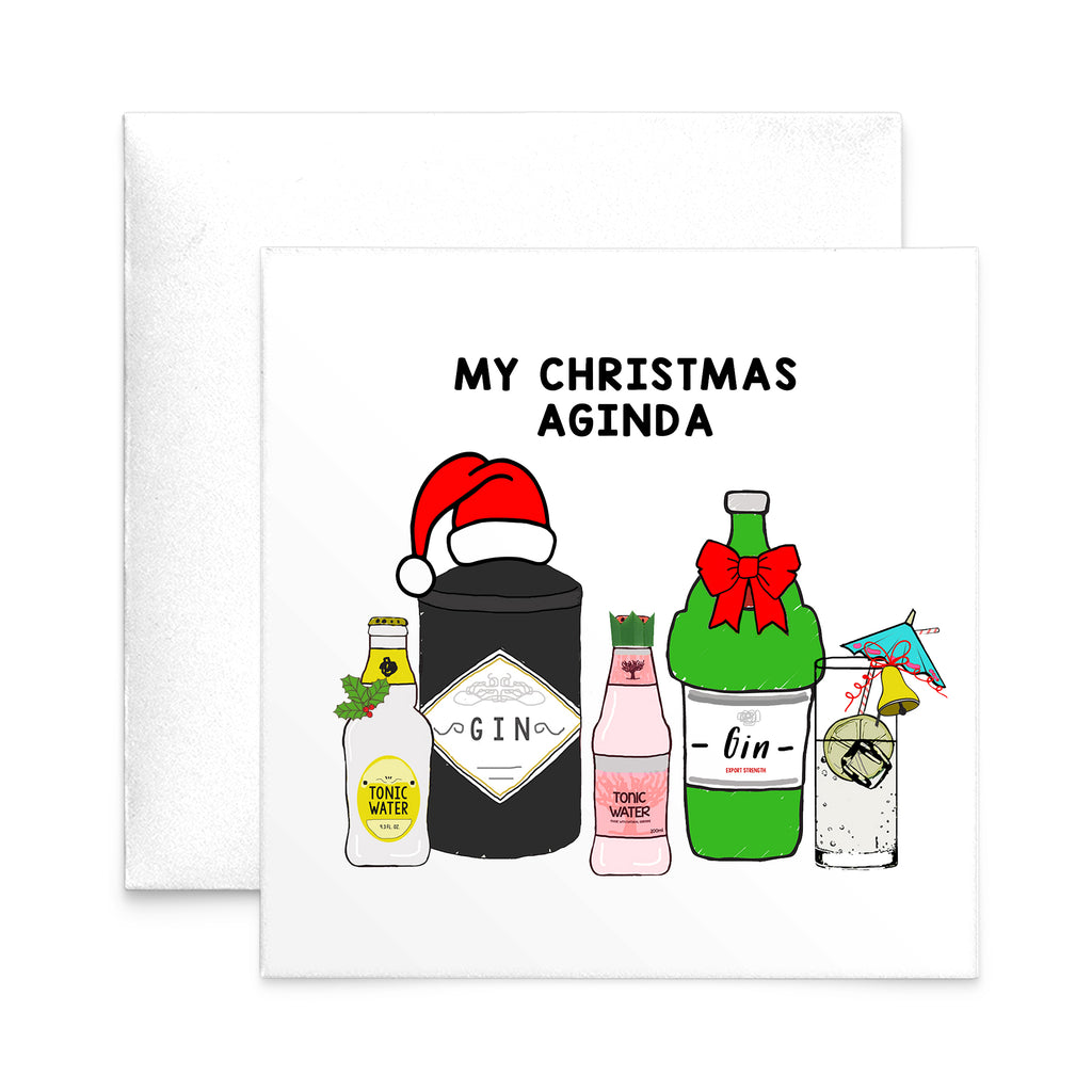 'Christmas Aginda' Funny Gin Christmas Card-A4 Print-Of Life & Lemons®