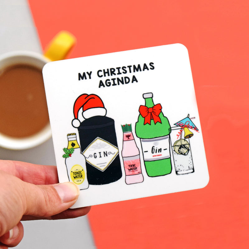 Funny Gin Christmas Coaster-coaster-Of Life & Lemons®