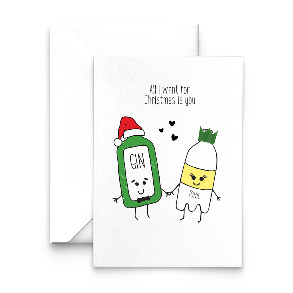 'All I Want for Christmas' Gin and Tonic Christmas Card-A4 Print-Of Life & Lemons®