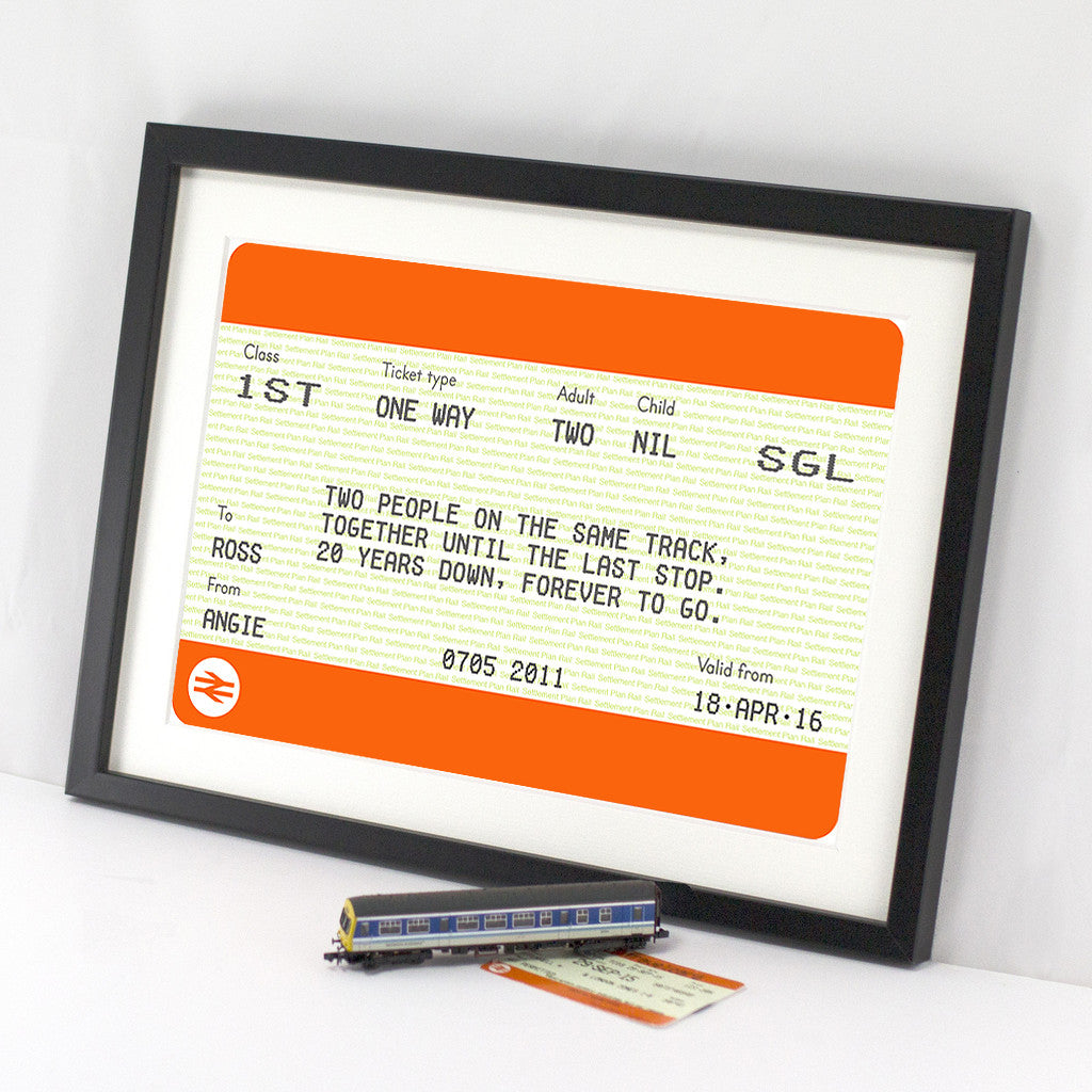 Personalised Train Ticket Anniversary Print