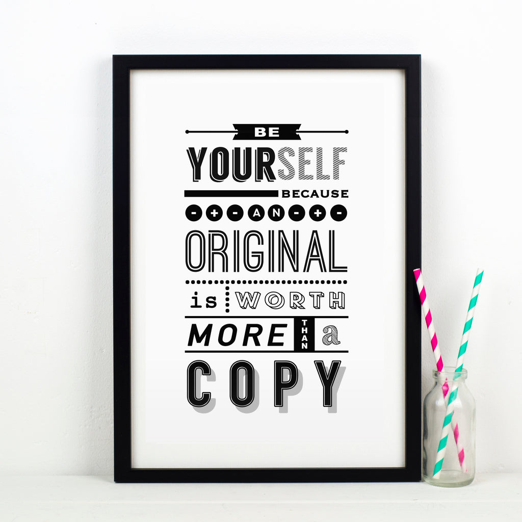 'Be Yourself' Typography Print-A4 Print-Of Life & Lemons®