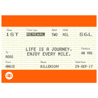 Personalised Train Ticket Birthday Card-Of Life & Lemons®