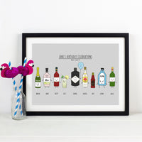 Personalised Birthday Drinks Print-A4 Print-Of Life & Lemons®