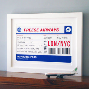 Personalised Boarding Pass Print-A4 Print-Of Life & Lemons®