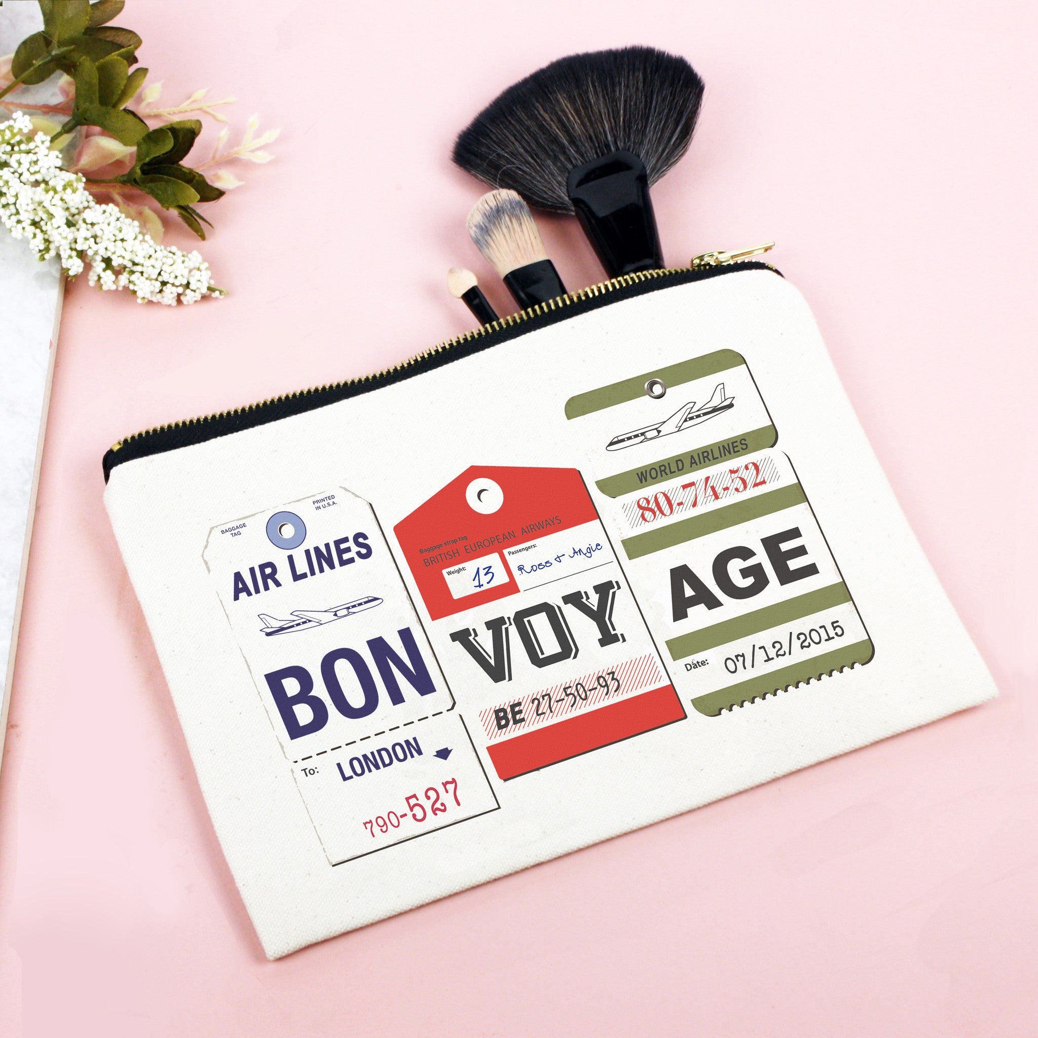 Personalised 'Bon Voyage' Make Up Bag-Tote Bag-Of Life & Lemons®