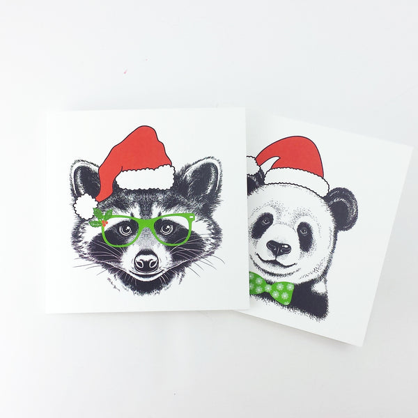 DISCONTINUED - Funny Animal Christmas Card - Panda-A4 Print-Of Life & Lemons®