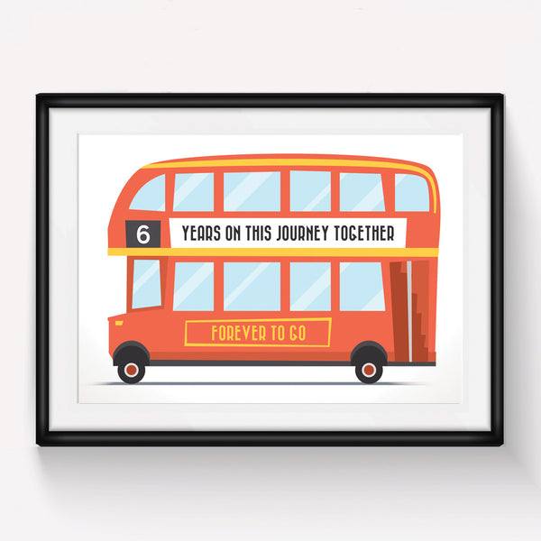 Personalised London Bus Anniversary Print