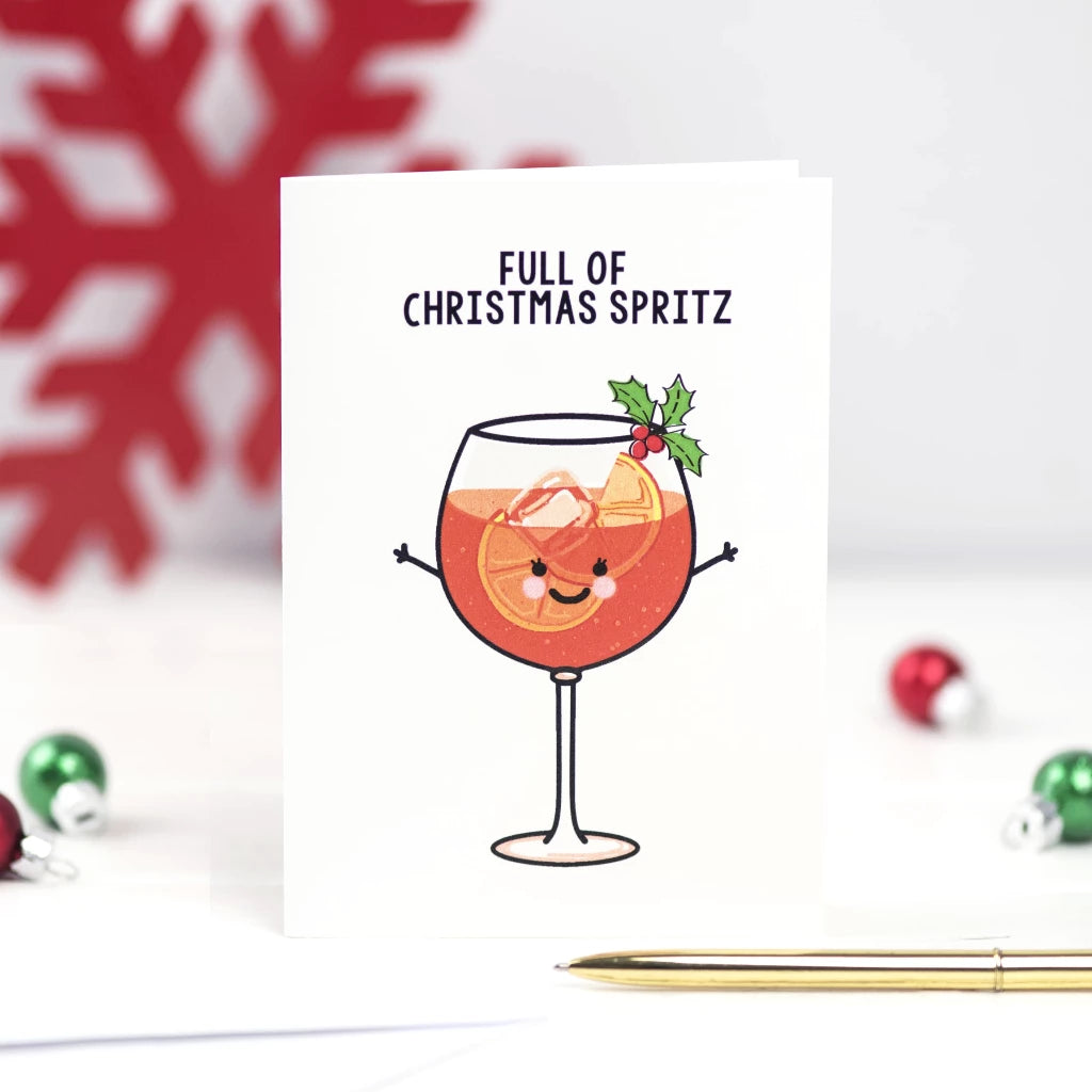 'Full of Christmas Spritz' Funny Aperol Christmas Card-A4 Print-Of Life & Lemons®