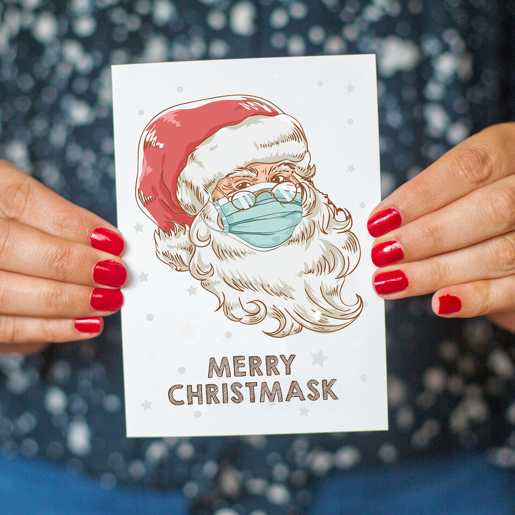 Funny Face Mask Christmas Card