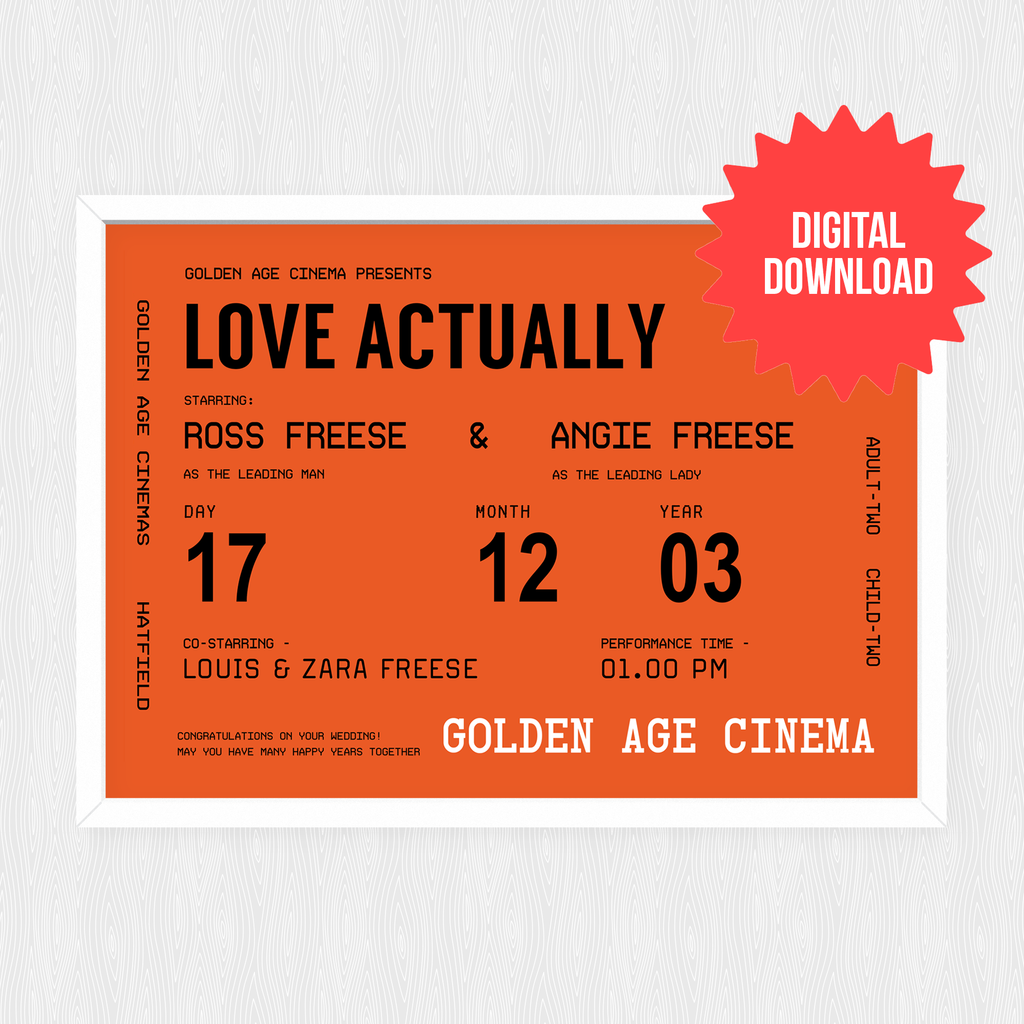 Personalised Cinema Ticket Print *DIGITAL DOWNLOAD*