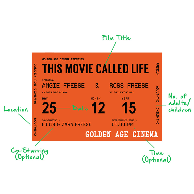 Personalised Cinema Ticket Wallet Keepsake-Keyring-Of Life & Lemons®