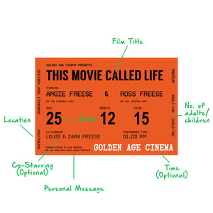 Personalised Cinema Ticket Print-A4 Print-Of Life & Lemons®