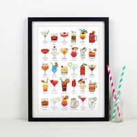 Illustrated Cocktails Print