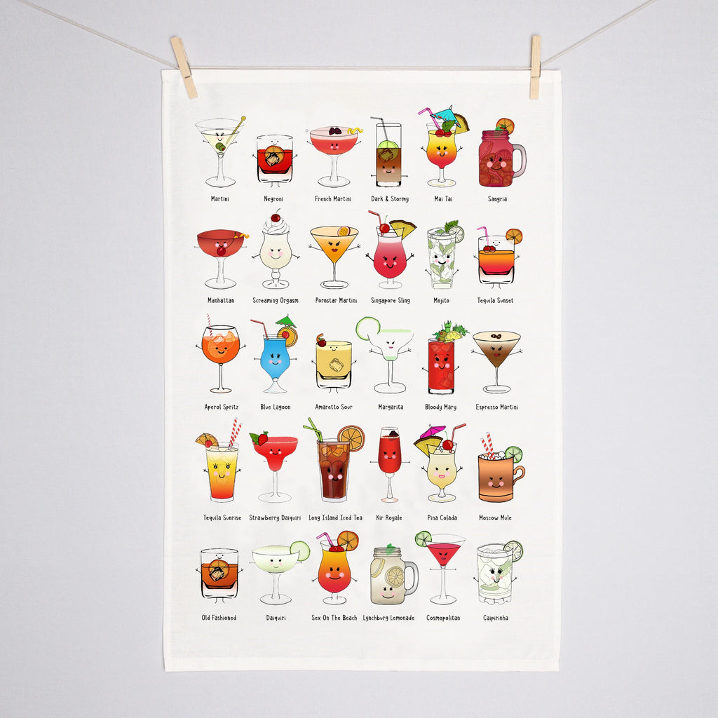 Illustrated Cocktails Tea Towel