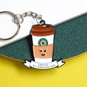 'Coffee - Morning Gin' Keyring-Of Life & Lemons®