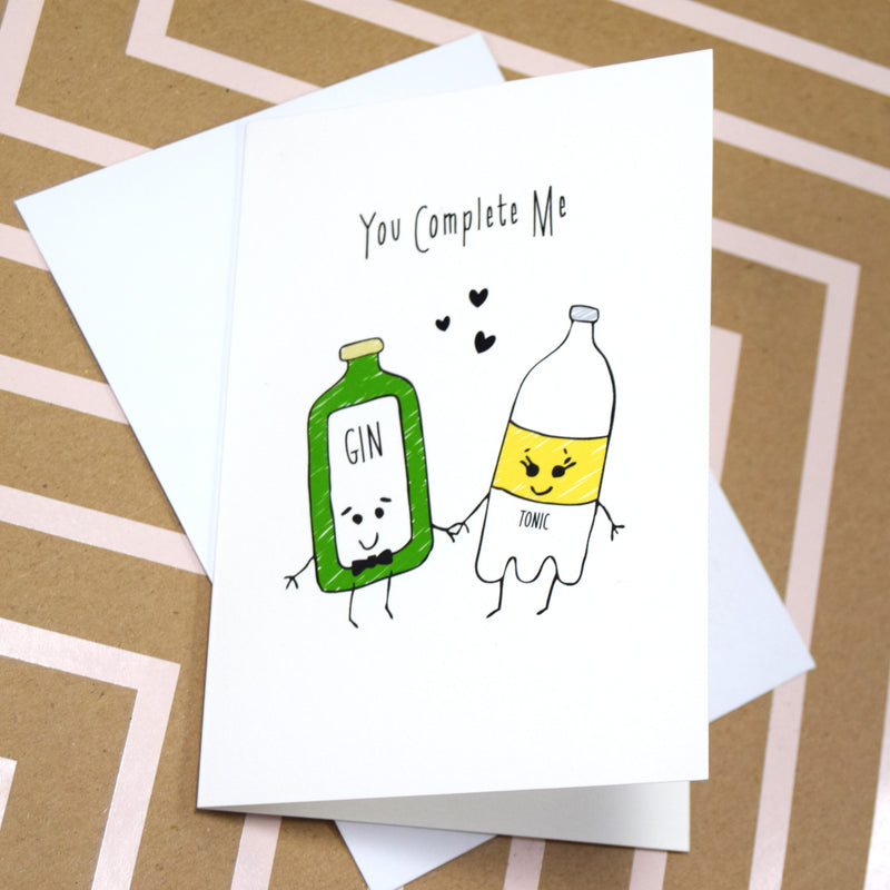 'You Complete Me' Gin Valentine's Card-A4 Print-Of Life & Lemons®