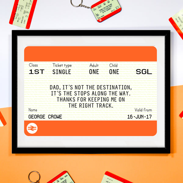 Personalised Train Ticket Father's Day Print