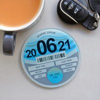 Personalised Glass Tax Disc Coaster for Dad
